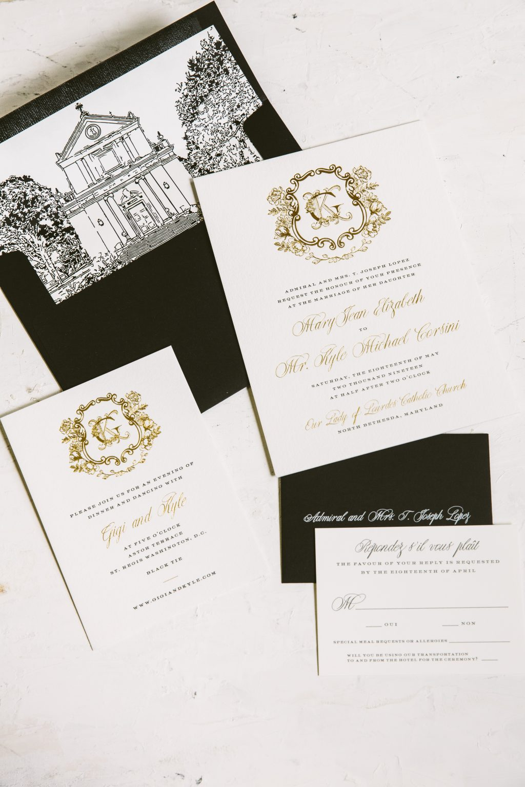 Ornate gold foil wedding invitations
