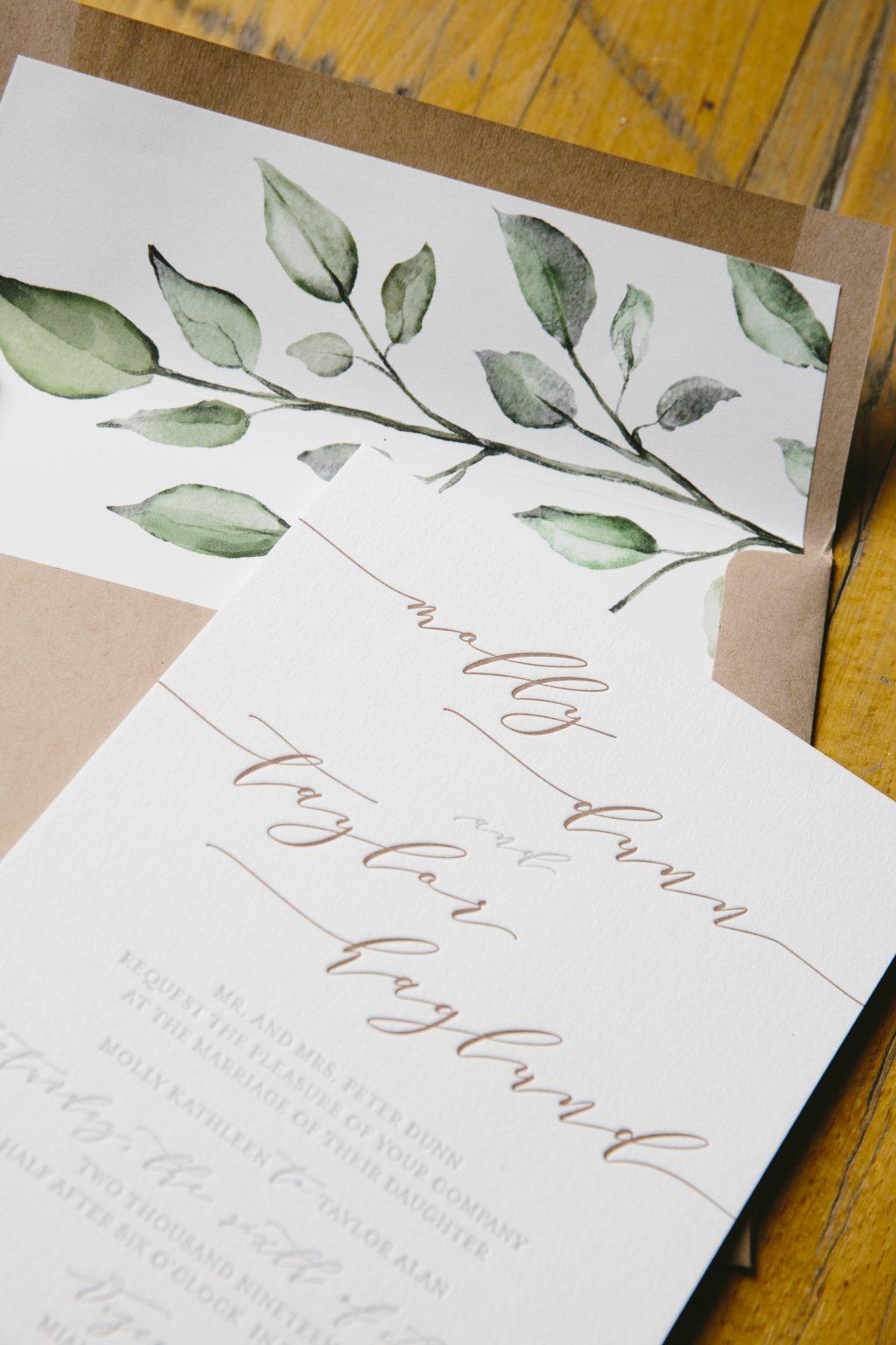 Shale and umber letterpress invitation set
