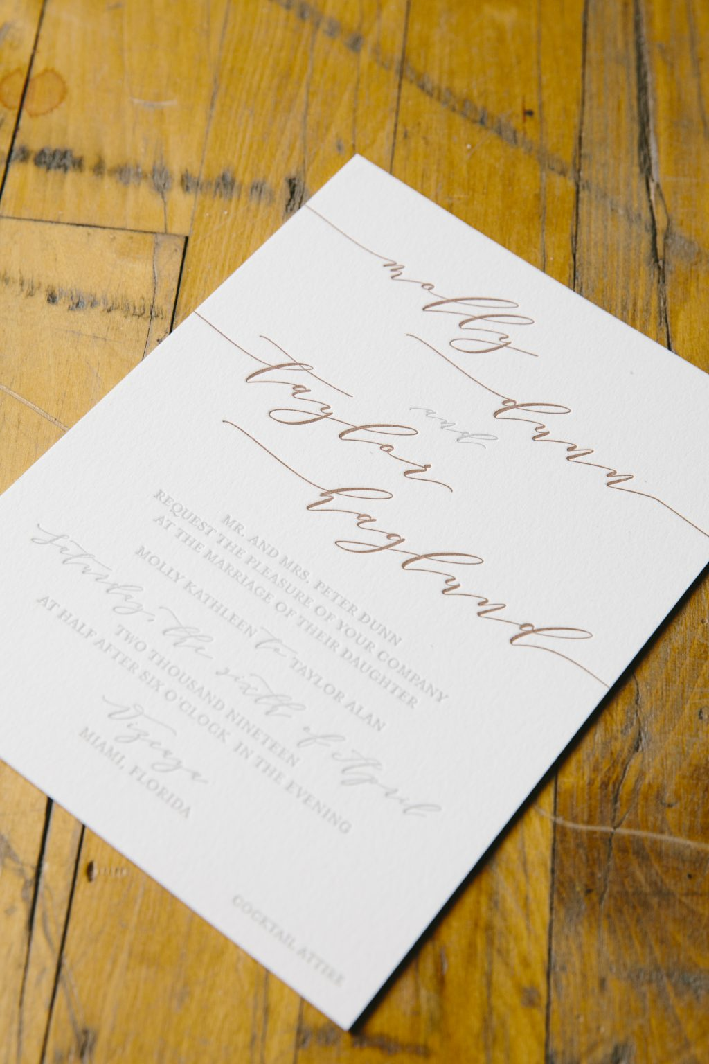 Shale and umber letterpress invitation set