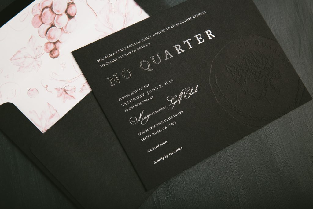 Silver shine foil invitations with blind deboss