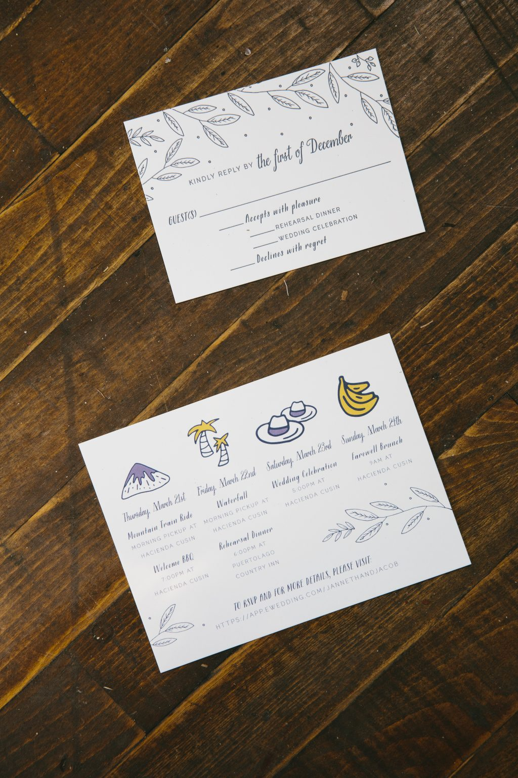 Playful blue letterpress invitations with foil accents