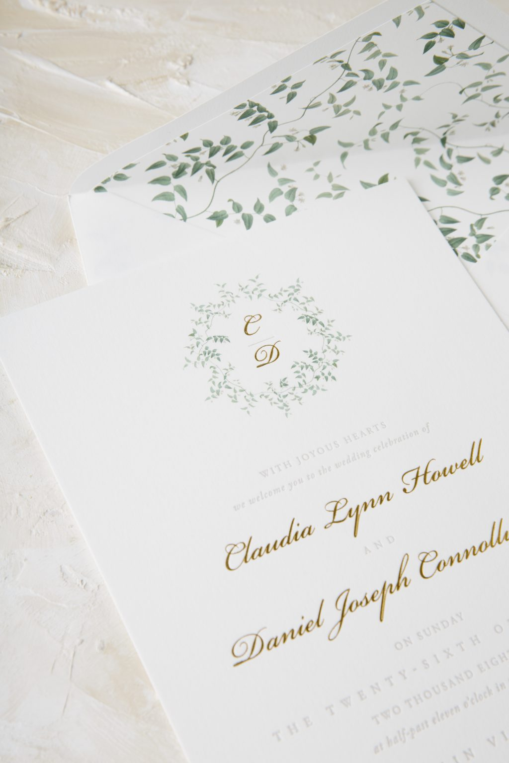 Everly inspired letterpress invitations with foil accents