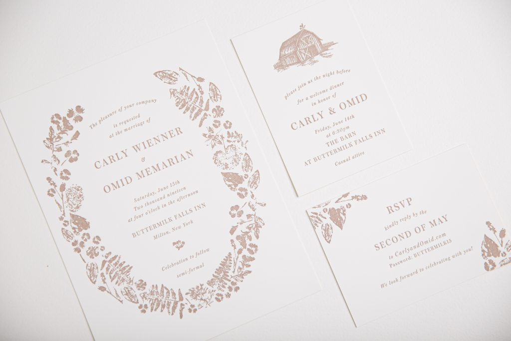Umber letterpress wedding invitations