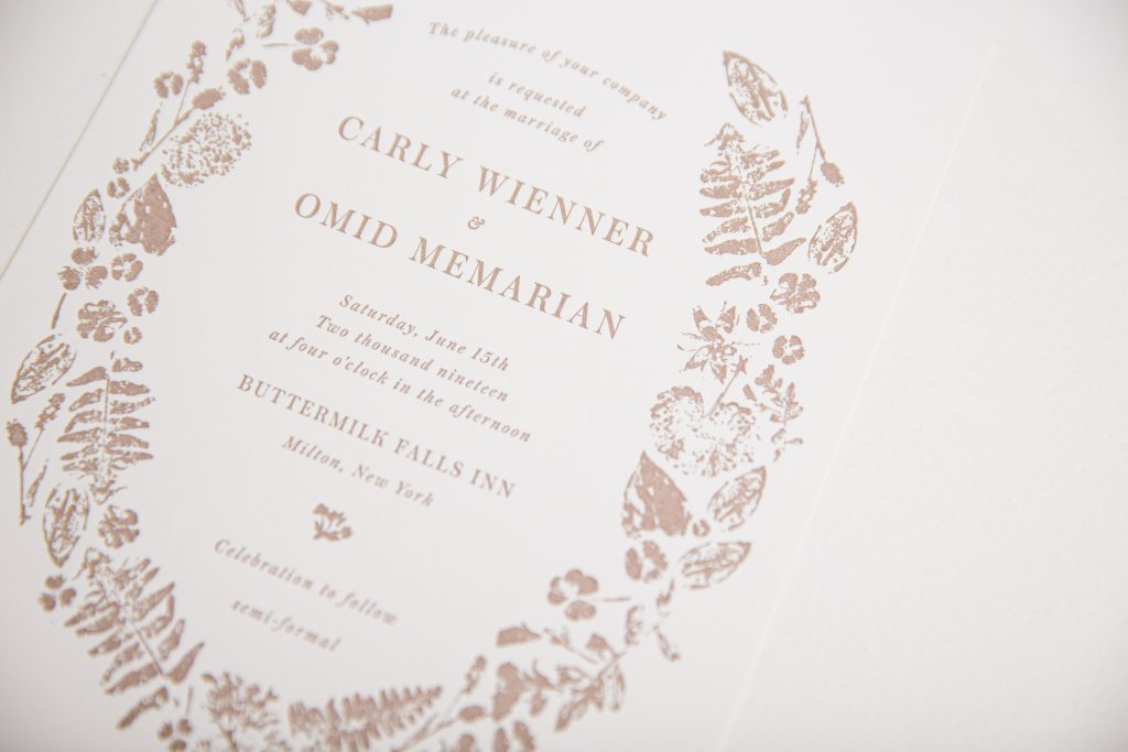 Umber letterpress wedding invitations