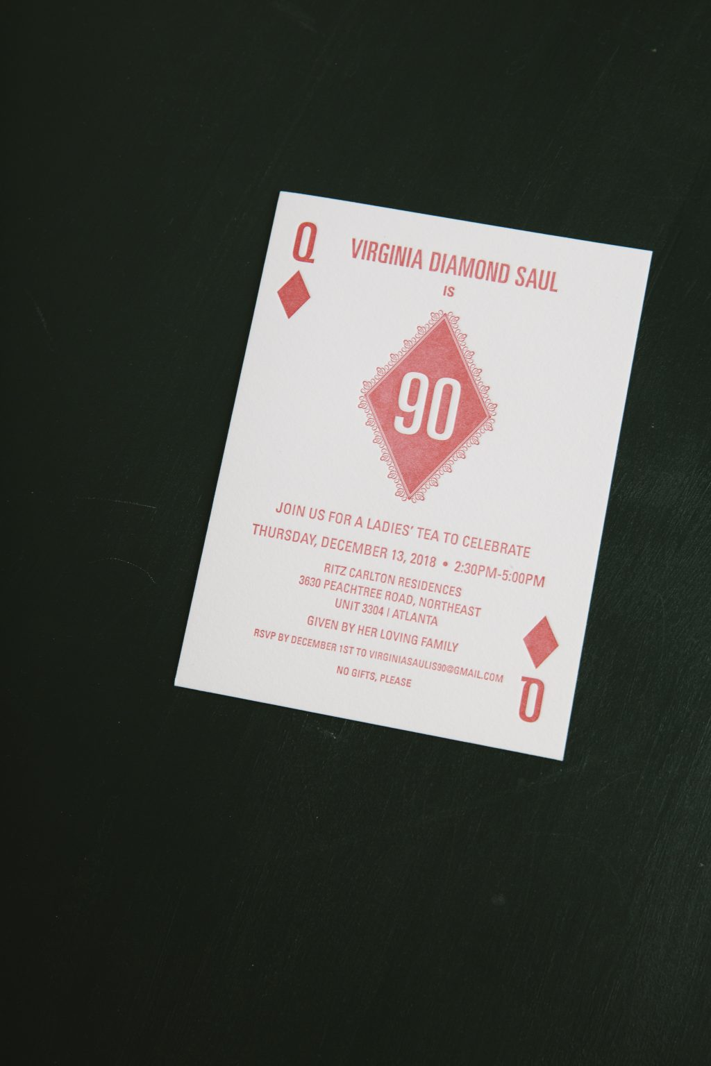 90th letterpress birthday invitation