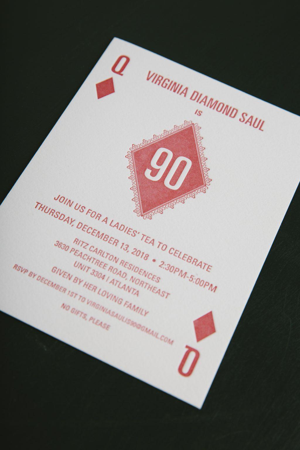 90th letterpress birthday invitation