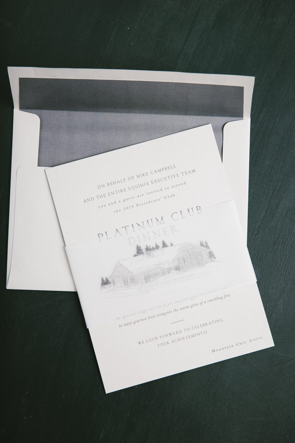 Charcoal letterpress dinner invitations
