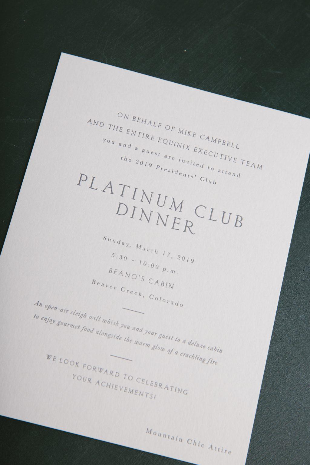 Charcoal letterpress dinner invitations