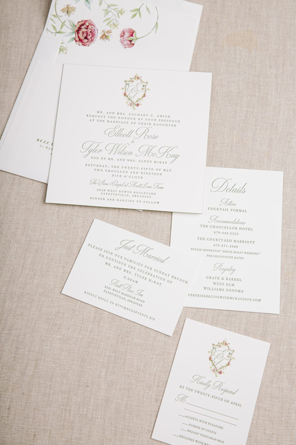 Floral monogrammed letterpress invitations