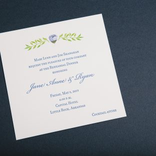Cobalt rehearsal dinner letterpress invitations