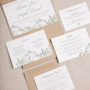 Espresso and Vine letterpress wedding invitations