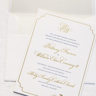 Gold and Navy letterpress wedding invitations