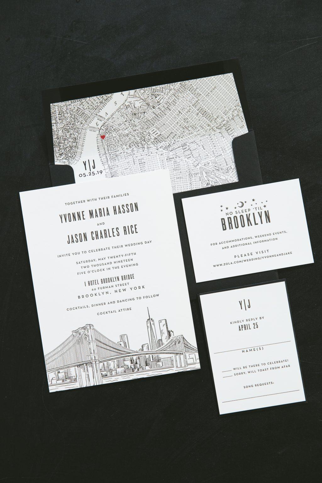 Black letterpress skyline invitations