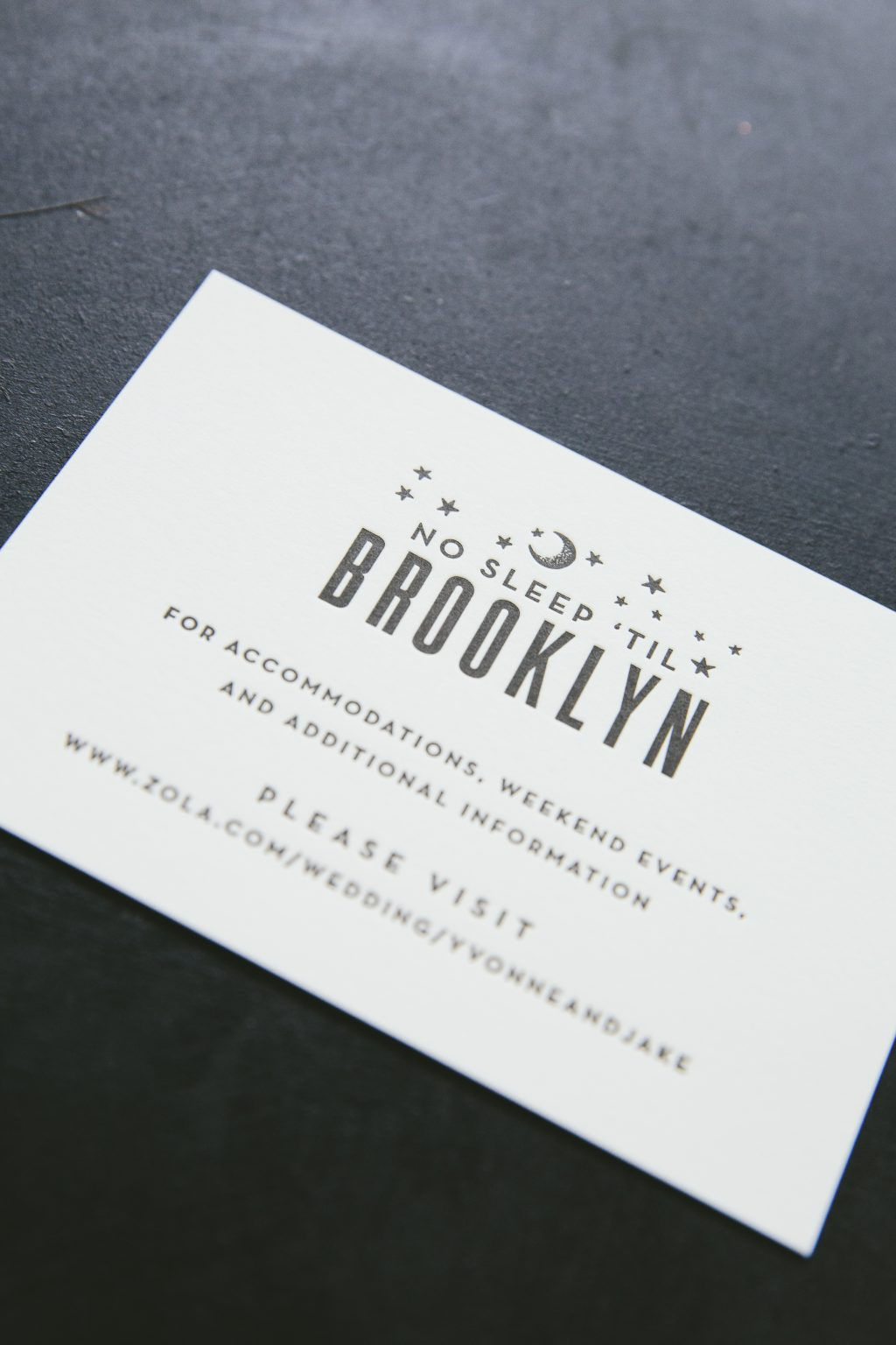 Black letterpress skyline invitations