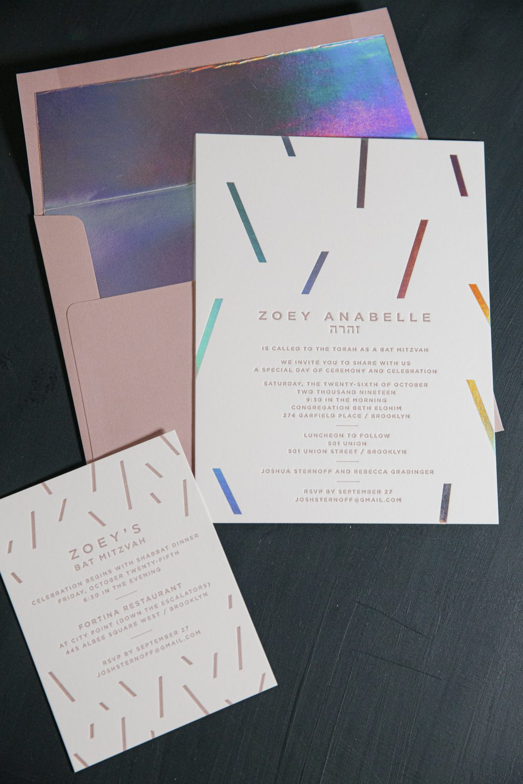 Prism shine Bat Mitzvah invitations