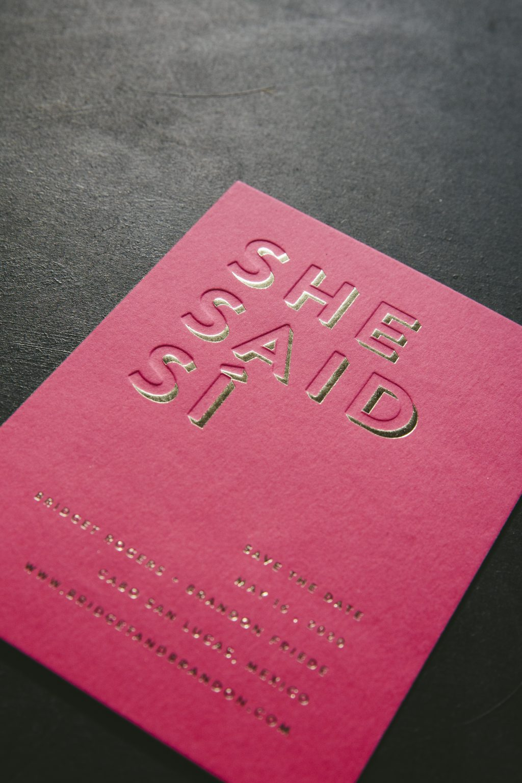 Bright pink save the dates