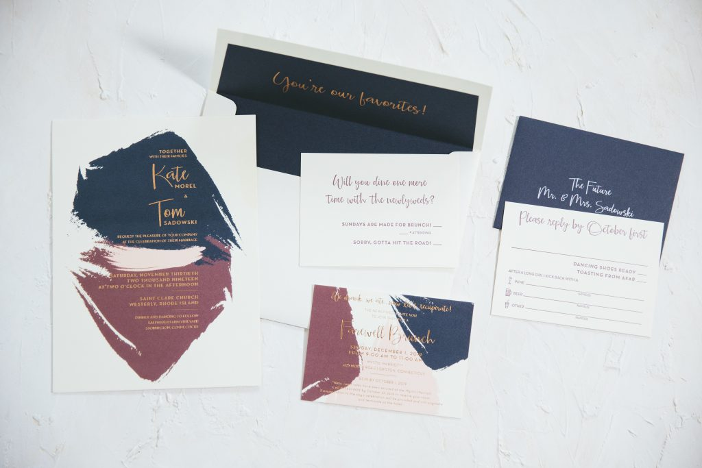 Painterly wedding invitations