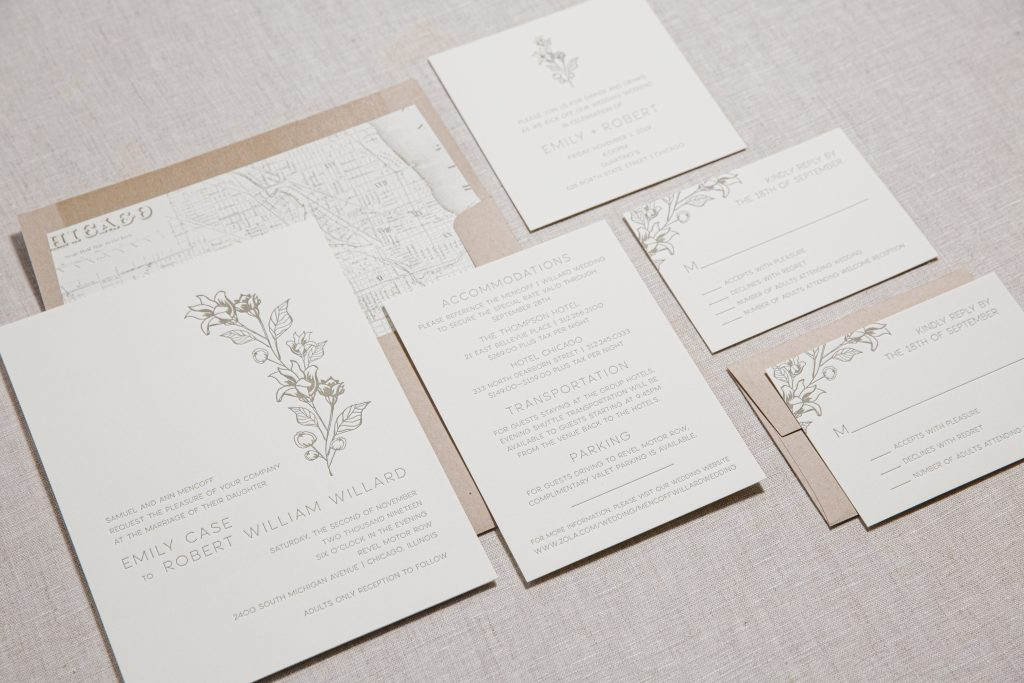 Olive letterpress wedding invitations