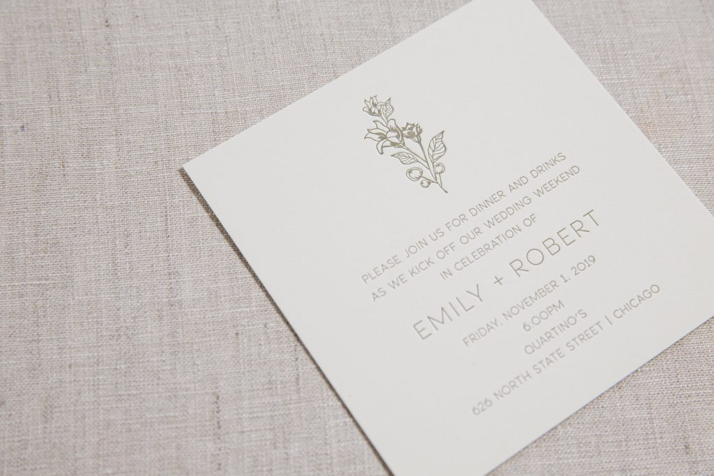 Olive letterpress wedding invitations
