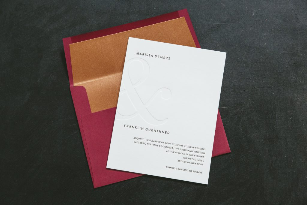 Blind debossed wedding invitations