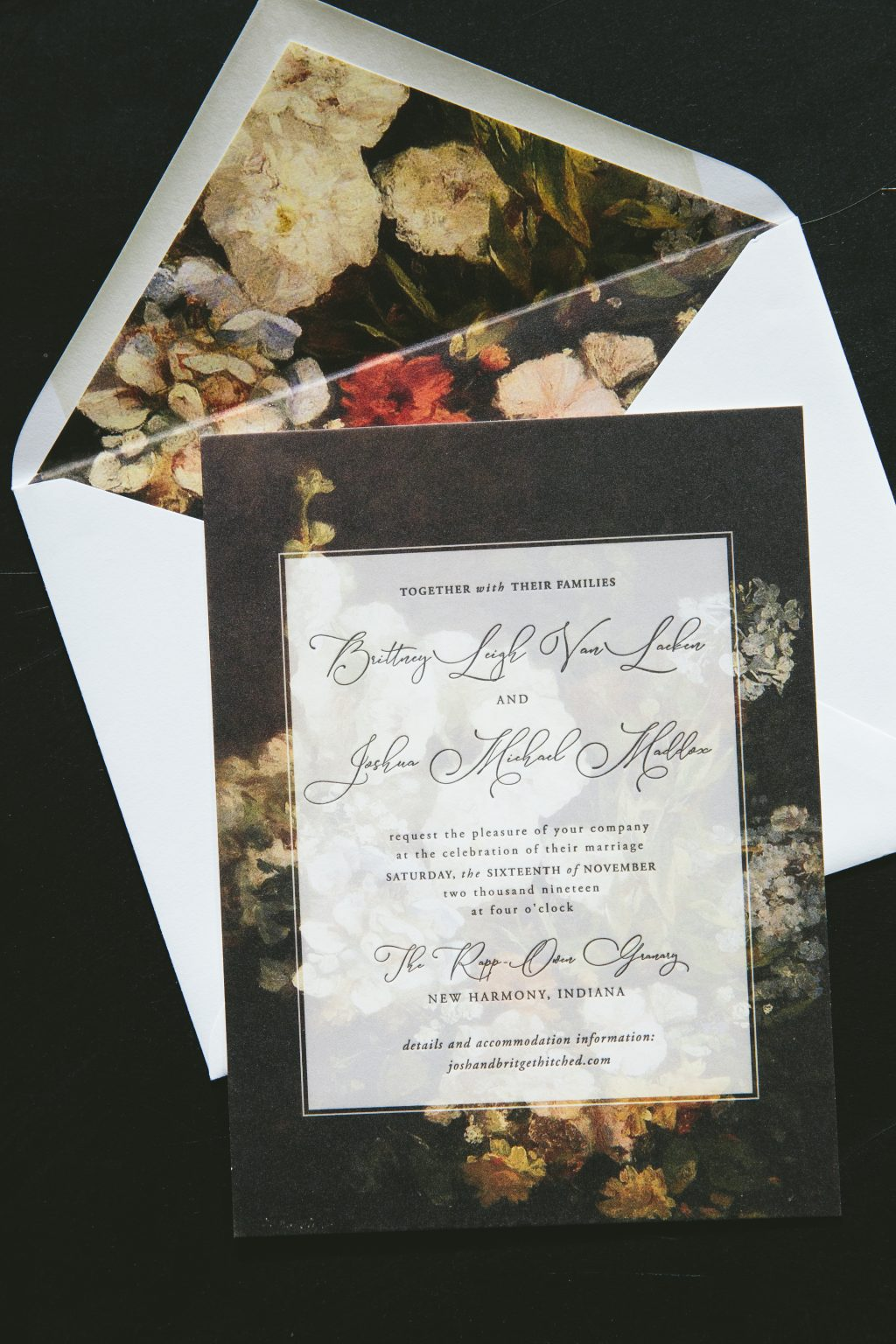 Moody floral invitations inspired by Neville