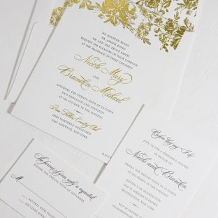Faunus inspired foil wedding invitations