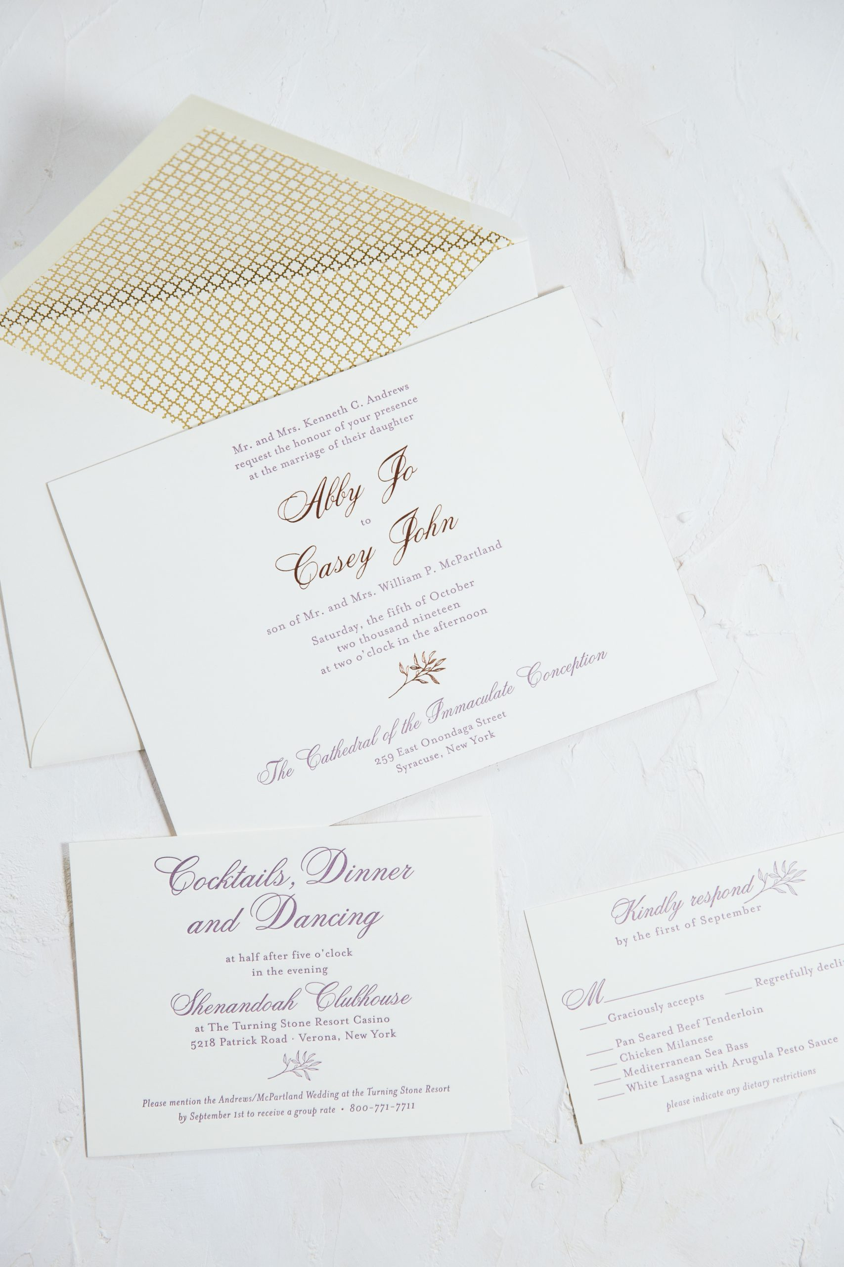 Purple letterpress invitations