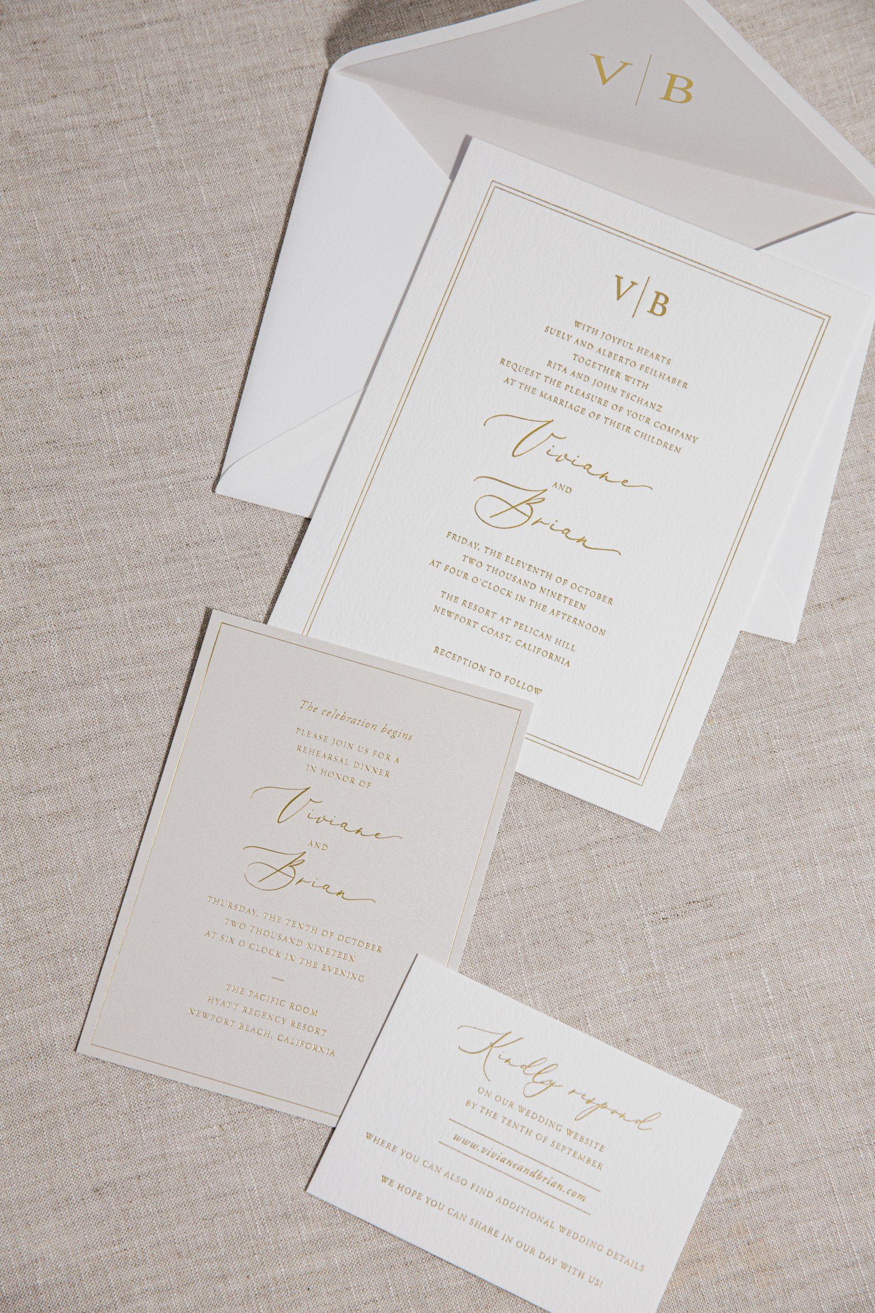Modern gold foil invitations