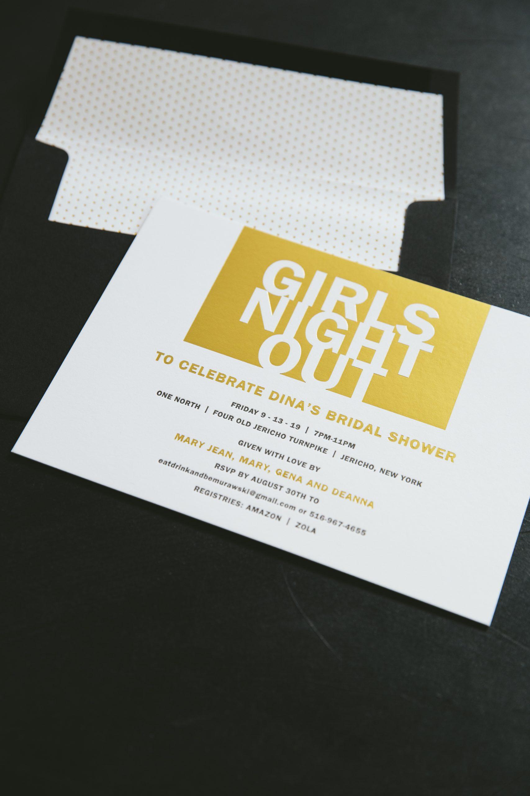 Gold foil bridal shower invitations