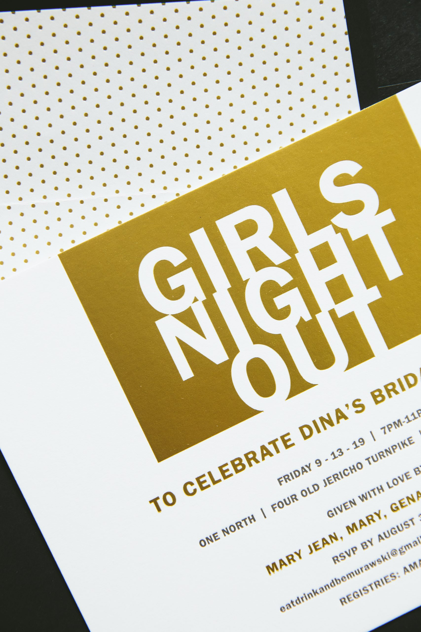Gold foil bridal shower invitations
