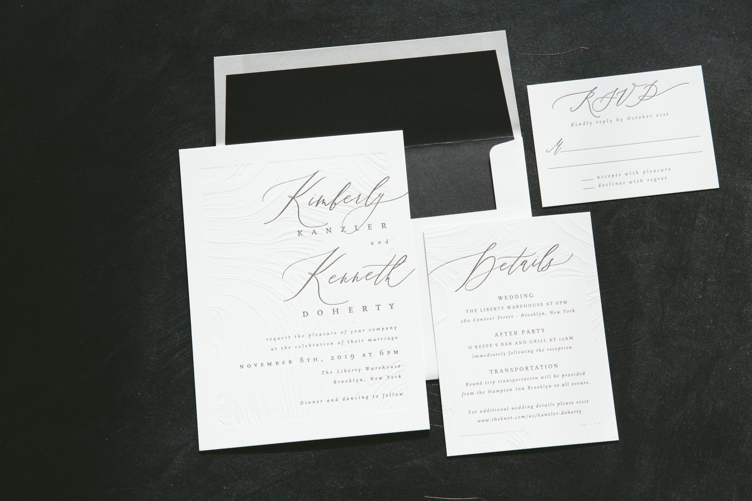 Textured letterpress wedding invitations