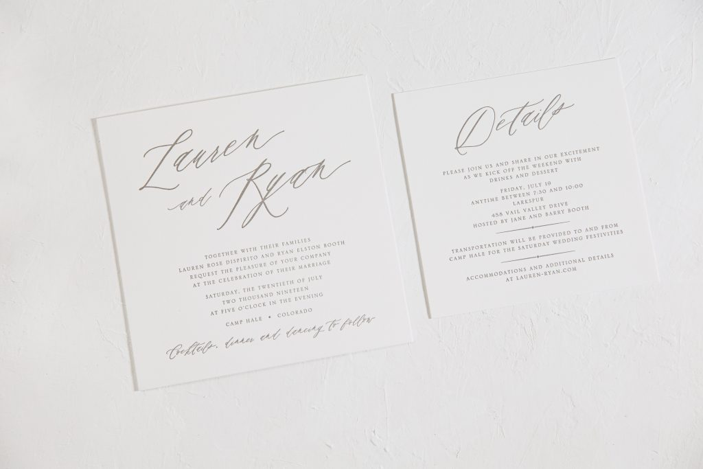 Taupe letterpress wedding invitations