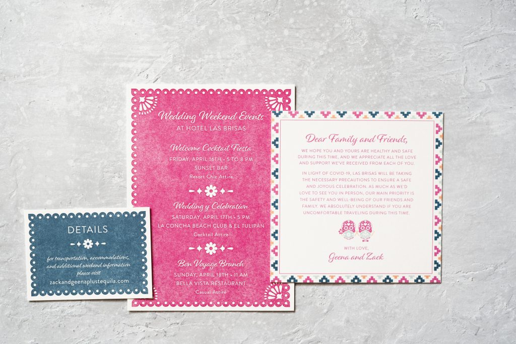 Colorful letterpress invitations made for a Mexico wedding