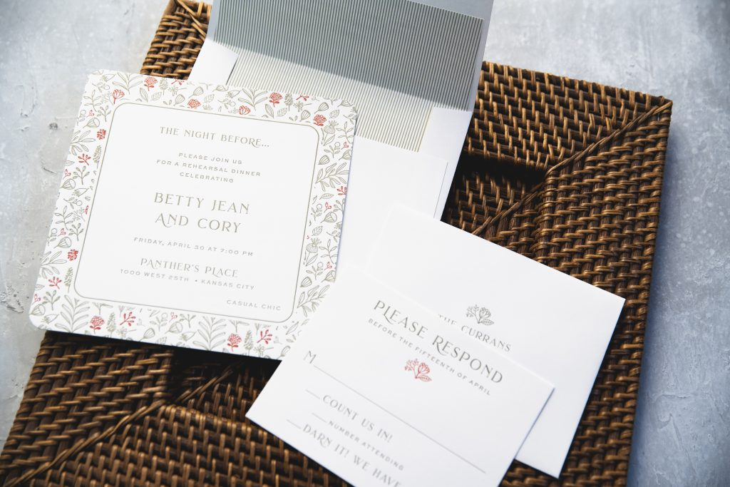 Spruce and Ruby letterpress rehearsal dinner invitations