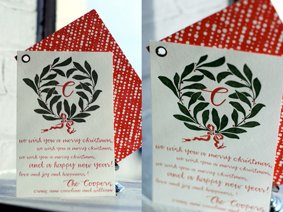 bamboo paper custom holiday cards letterpress letterpress