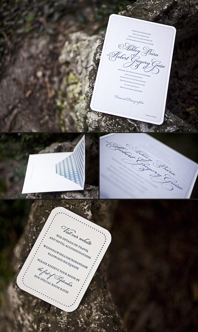 minimally elegant letterpress wedding invitaions