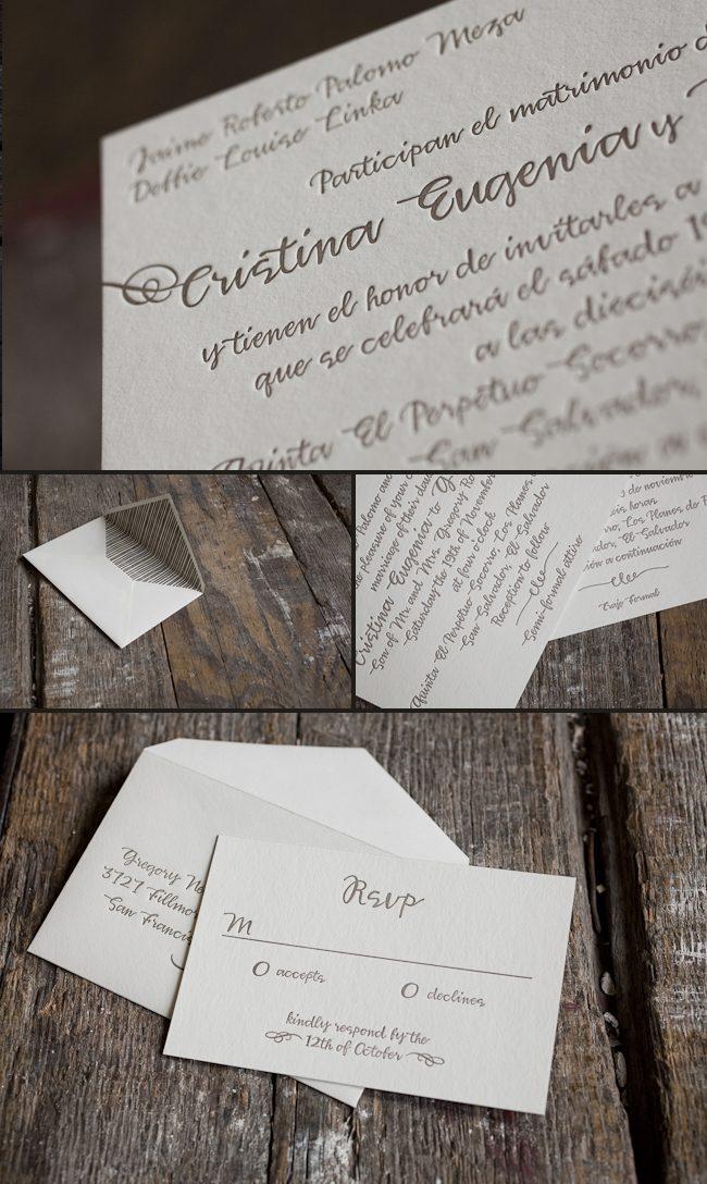 bilingual letterpress wedding invitations
