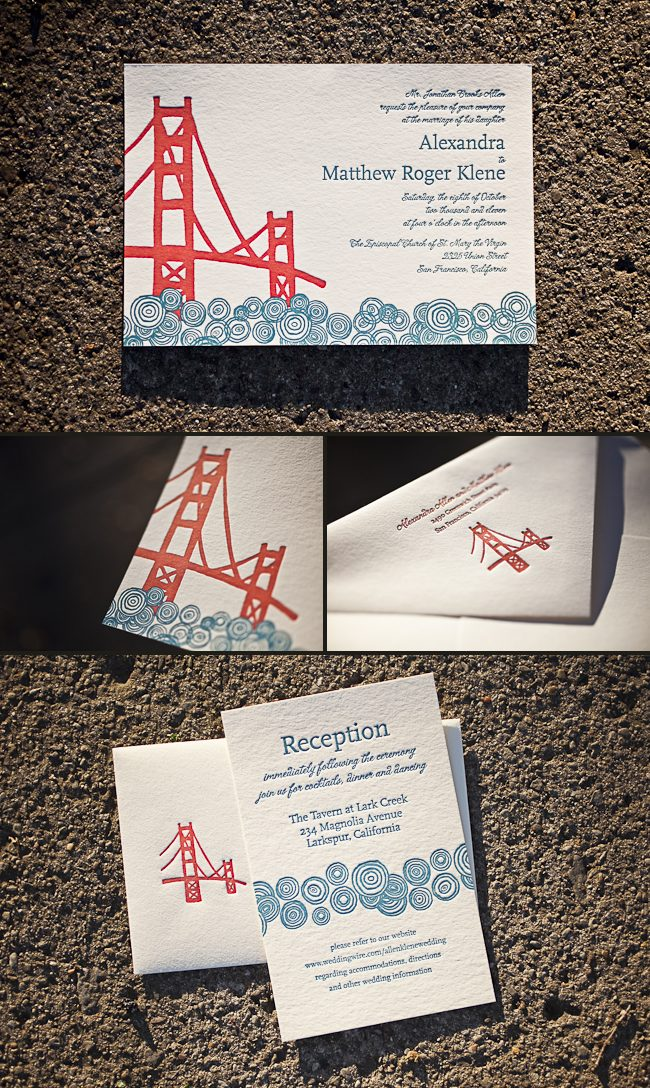san francisco themed letterpress wedding invitations