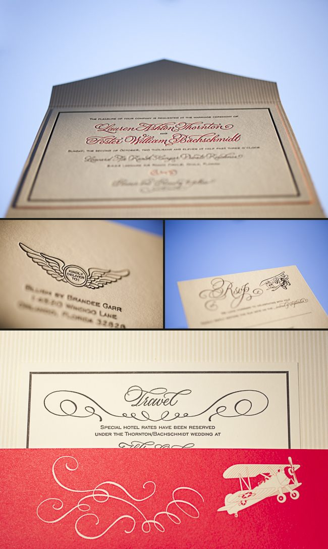 retro aviation letterpress wedding invitations