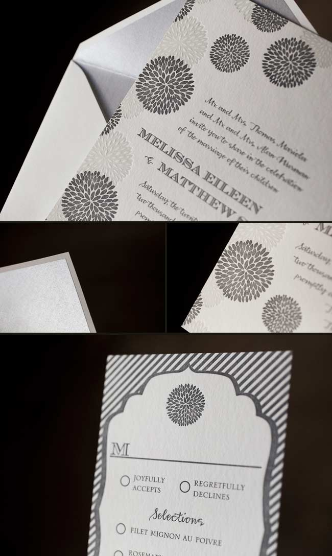 monochromatic letterpress wedding invitations