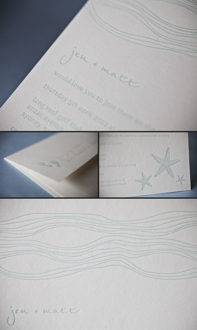 nautical blue letterpress wedding invitations