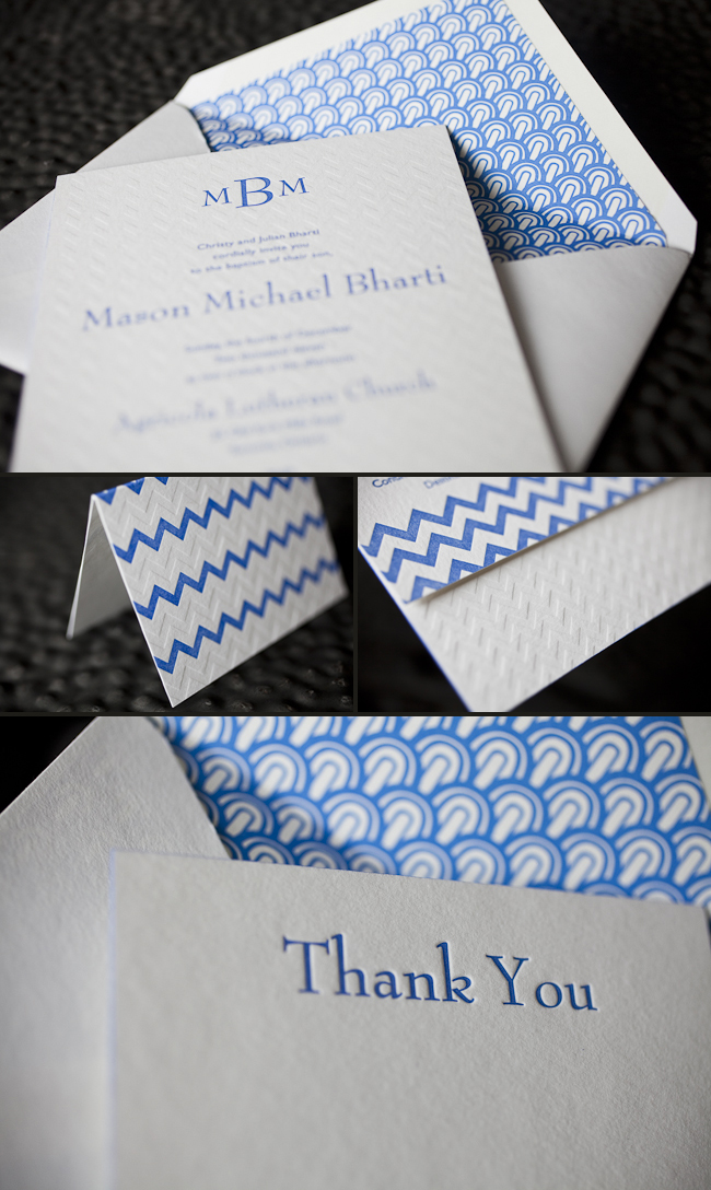 chic baptism letterpress invitations