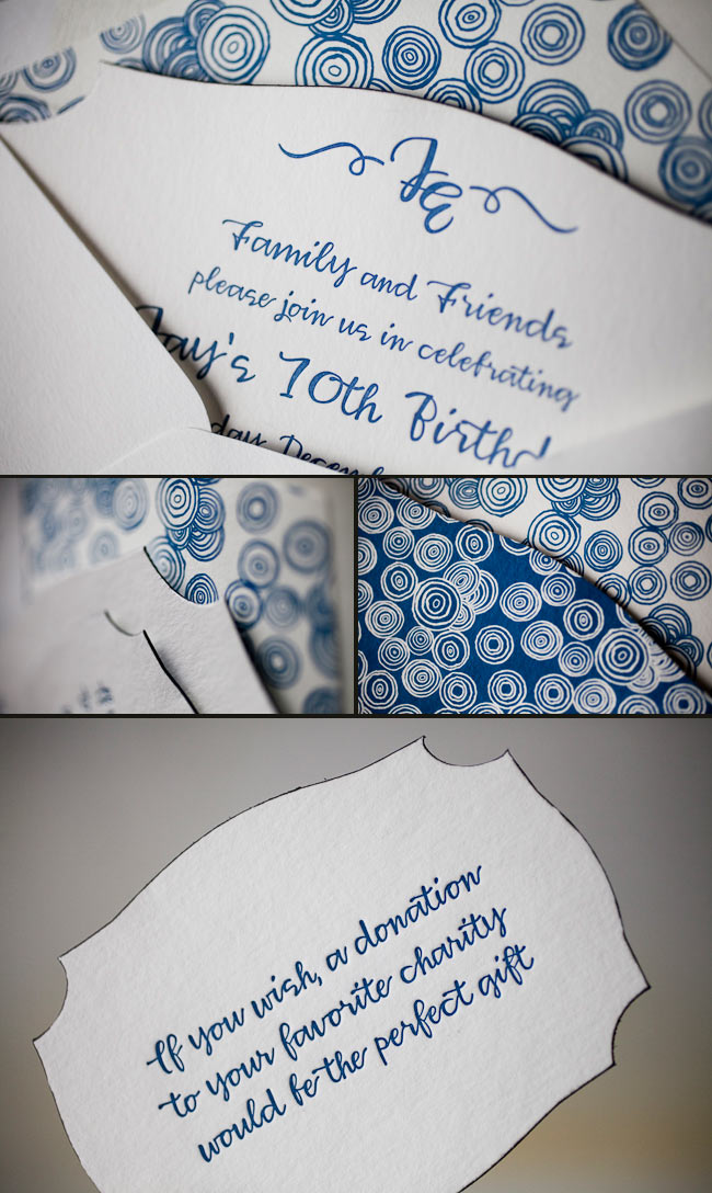 whimsical letterpress birthday invitations