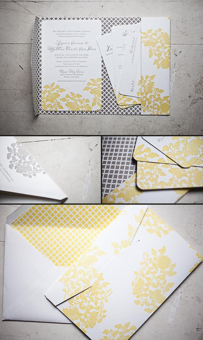 autumn vintage letterpress invitations