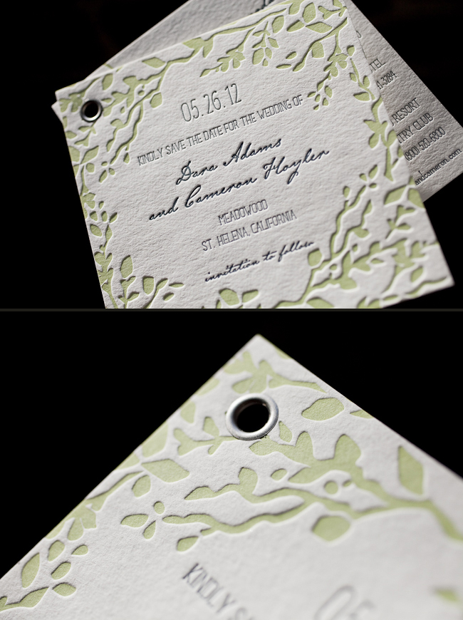 botanical letterpress save the dates