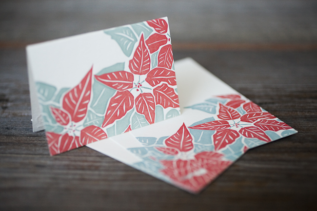 Festive gift tags featuring cheery poinsettias. Letterpress printed on bamboo paper from Smock.