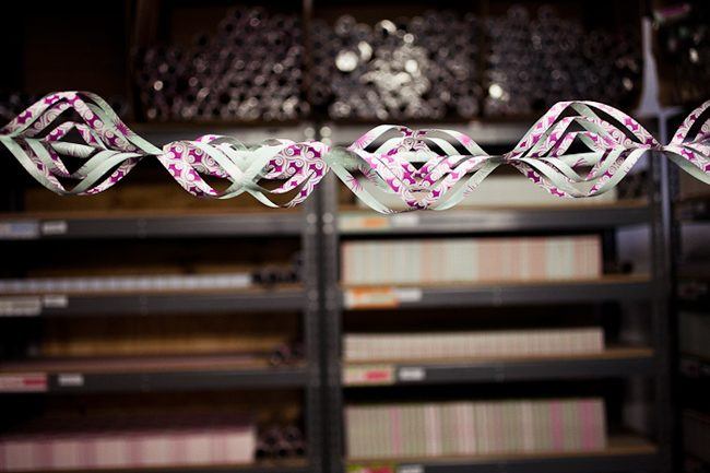 DIY with Smock: holiday garland made with Smock's double-sided gift wrap