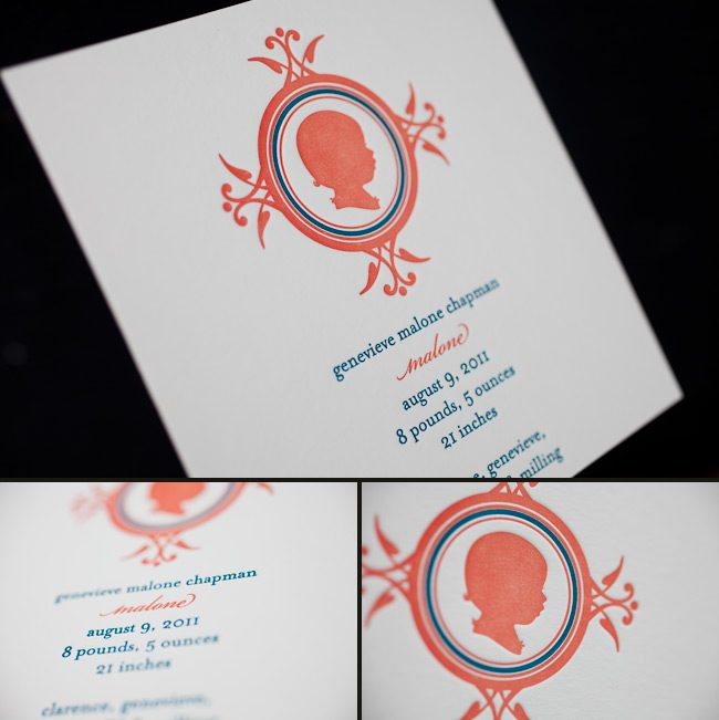vintage letterpress birth announcements
