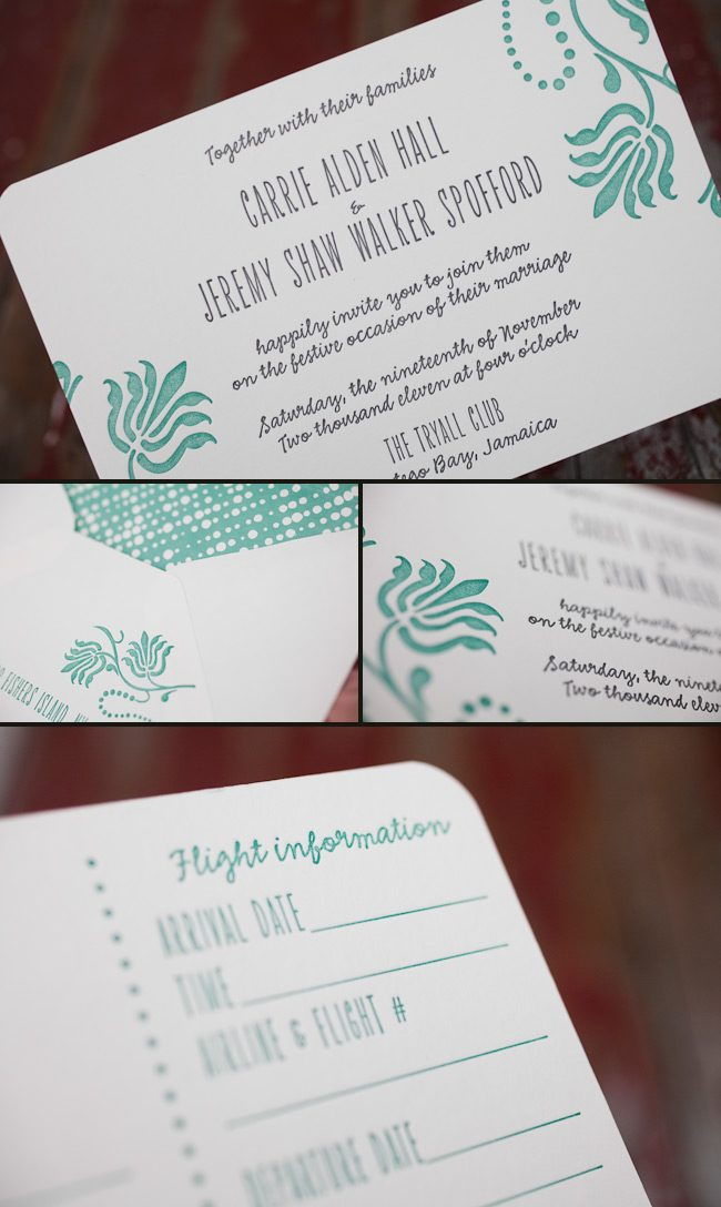 colorful destination letterpress wedding invitations