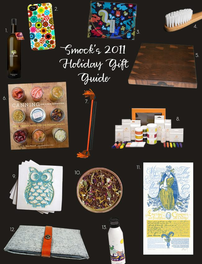 An assortment of indie gift ideas for the holidays, compiled by Smock's owner, Debbie, and Creative Director, Amy